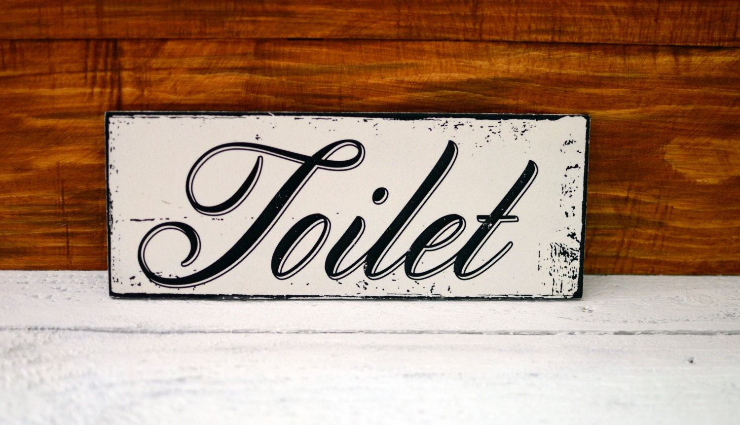 Shabby chic toilet sign rustic wood sign hand painted for Wood bathroom wall decor