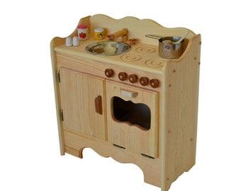 Wooden Play Kitchen-Wooden Toy Kitchen- Waldorf Kitchen-Montessori play stove-Wooden Toys-Play Kitchen- Child's Waldorf Play Kitchen