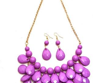 Purple Pearl/Faceted Teardrop Chain Necklace & Earring Set