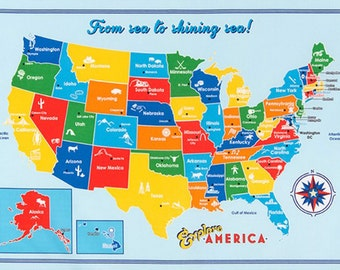 1 Panel of EXPLORE AMERICA by Anderson Design Group for Robert Kaufman Bright US Map Panel