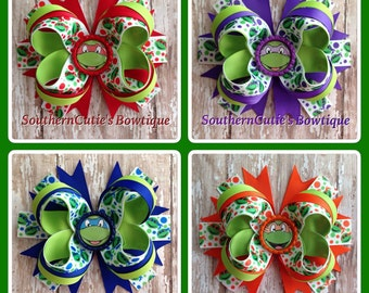 Ninja Turtle Stacked Boutique Bow