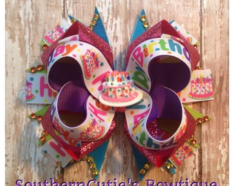 Happy Birthday Stacked Boutique Hairbow
