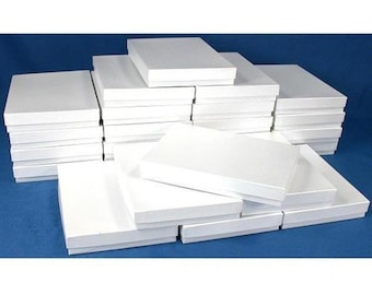 """25 White Swirl Cotton Boxes Necklace Jewelry Gift Box Displays 7 1/8"""""""