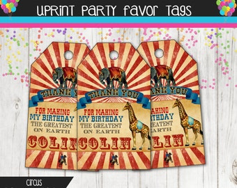 Vintage Rustic Circus  Party Thank You Tags - Printable - Custom - Favor Tags