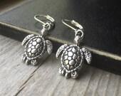Tibetan Silver Turtle Earrings With Lever Backs