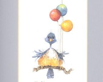 Balloon Bird 12 x 9 lithograph