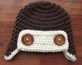 Crocheted Baby Aviator Earflap Hat with Wooden Buttons, Crocheted Cocoa Brown & Cream Aviator Earflap Hat, Newborn to 5T - MADE TO ORDER