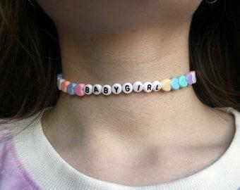 BABYGIRL Choker Necklace // Pastel Kawaii Cyber Ghetto Cute