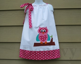 Girl's Owl Pillowcase Dress. Back to School Dress for Kids. Made to Order Girl Dress in All Sizes: 6mos_8