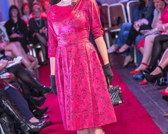 Handmade 1950's brocade vintage dress 3/4 sleeve
