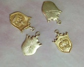 4 Vintage Brass Royal Crown Crest Charms-28mm