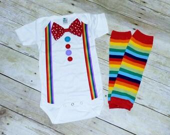 First  Birthday outfit, Clown Birthday Outfit, circus cake smash, rainbow legwarmers,clown costume, clown Cake Smash, polka dots, stripes