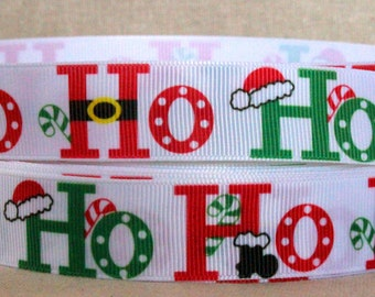 "7/8"" Christmas Ribbon Grosgrain Ribbon by the Yard Santa Ribbon for Christmas Gift, Christmas Party, Hair Bow, or Wreath"