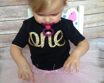 Black and Gold One first Birthday / Black and Gold First birthday top/ Black and Gold One