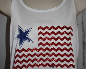 Women's Chevron American Flag, Patriotic Top, America TShirt, Patriotic T-Shirt, Patriotic Glitter Shirt