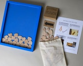 "Wedding Guest Book Alternative - Wooden Hearts - 11x14"" Cerulean Painted Pine Shadowbox Frame - Unique Drop Slot Guest Book"