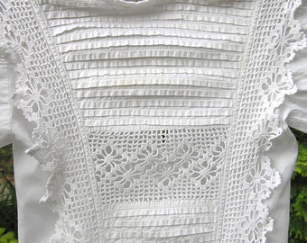 Vintage Victorian Baby Christening Dress with Crocheted Lace