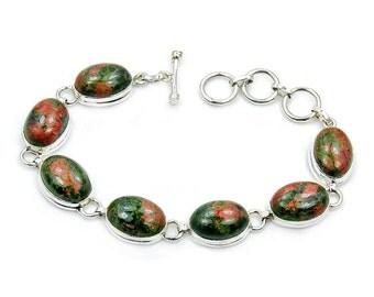 Rare Natural Unakite & .925 Sterling Silver Bracelet, Z756