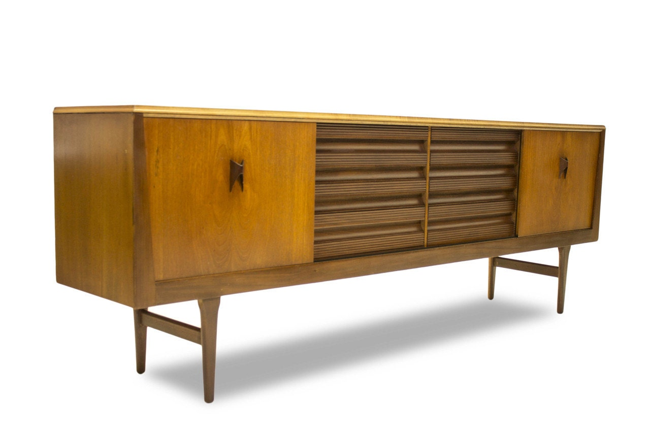 Mid Century Long Credenza Media Console Cabinet With