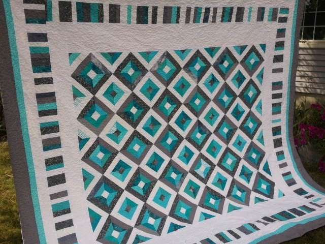 Teal And Gray Quilt Made To Order Queen Quilt King Quit
