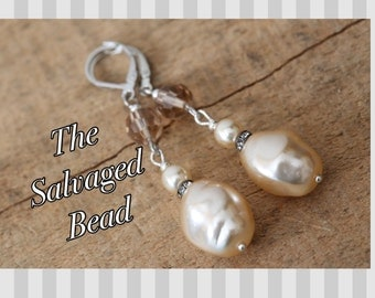 Vintage Bridal Rhinestone and Baroque Glass Pearl Assemblage Earrings by The Salvaged Bead