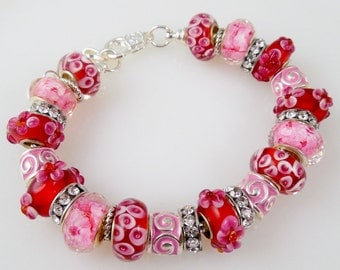 Pink and Red European Charm Bead Bracelet