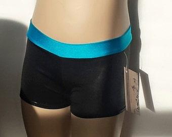 Custom Order for Tonya - Girls Size 6/6X, Shiny Black / Turquoise Low Waisted Shorts for Gymnastics,  Dance and/or Cheerleading