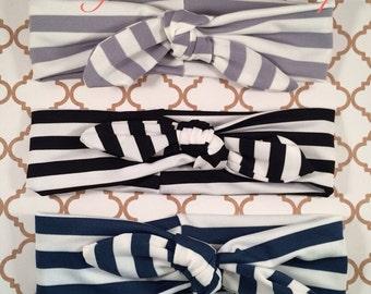 Baby Turban Headband, Newborn Striped Headband, Girl Turban Striped Headband, Striped Headwrap, Grey Striped Headband, Navy Headband