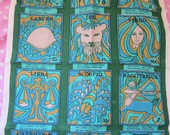 70's Vintage Zodiac Irish Linen Tea Towel, Unused Dish Towel, Psychedelic Turquoise Blue and Green Very Kitsch