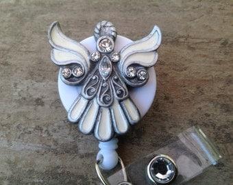 Angel retractable badge reel,medical badge,RN badge,brooch lanyard, cute badge reel,ID Holder,medical jewelry