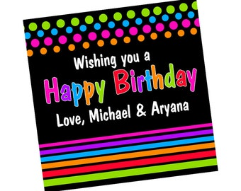 Happy Birthday Personalized Stickers, Birthday Personalized Labels - Gift Tag Labels