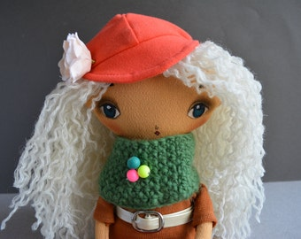 Christmas Cloth doll - Fabric clothing stuffud toy - White curly hair girl - Primitive cloth doll - Fabric cloth - Soft toy - Art doll.