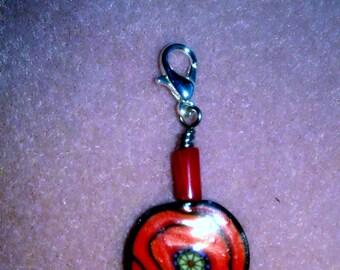 Knitting Crochet Removable Stitch Marker - Red Poppy Flower