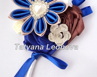 Boutonnieres, blue, white, brown