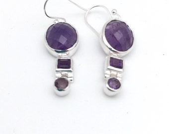Amethyst Modern Dangle Earrings