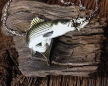 striped bass necklace: striped bass going after herring necklace rock fish art