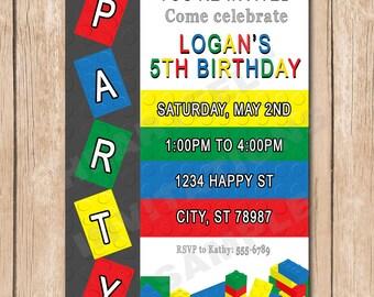 Building Blocks Birthday Party Invitation | 1.00 each printed or 10.00 DIY file