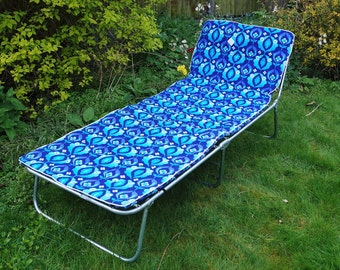 Vintage padded sun lounger