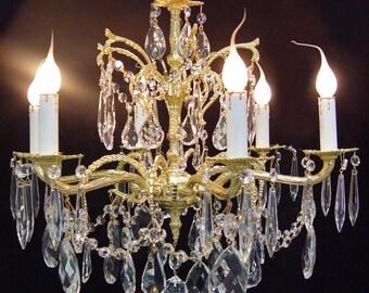 """Vintage 18 """" x 19 """"  BRONZE CRYSTAL CHANDELIER elegant  custom dressed  6 Lights ~ brilliant gold plated"""
