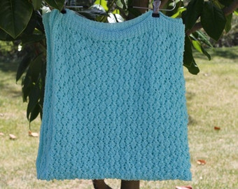 HAND KNITED KID Afghan, blanket,  teal ocean blue Blanket ready to ship