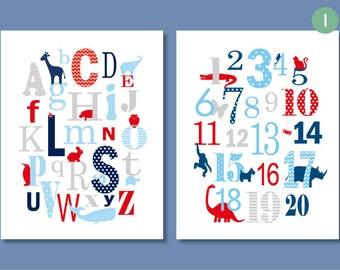 Alphabet Nursery, ABC 123, Count to 10, Letters and Numbers, ABC Nursery, Playroom Art, Baby Boy Nursery, Toddler Decor, Animal Nursery