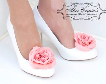 Wedding Flowers Shoes White And Coral Bridal Flat Women Weddig