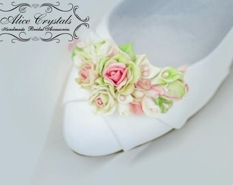 Bridal Ballet flowers shoes. Romantic wedding Shoes. Heel and toe flower ballet