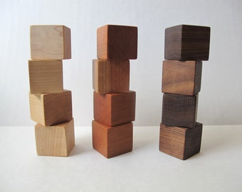Wood Toy Blocks - Set of 12, Maple, Walnut and Cherry, organic toy