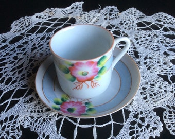 Vintage Tiny Dematisse Cup Pink and Blue Florals