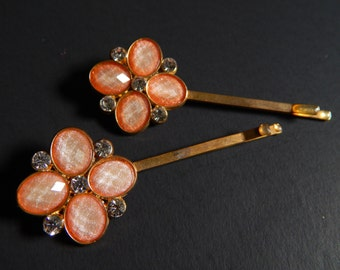 2 Goldtone Apricot Stone + Rhinestone Hair Pins / Bobby Pins Flower Design