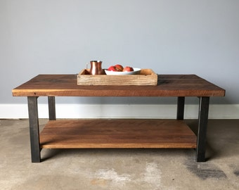 Coffee Table With Lower Shelf / Industrial Reclaimed Wood Coffee Table