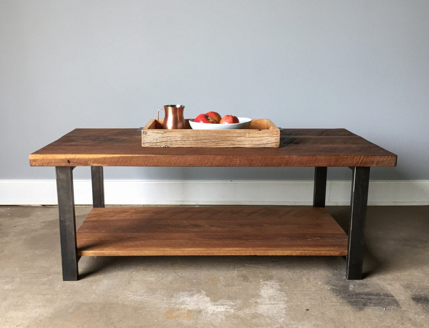 Reclaimed Oak Wood Coffee Table Lower Shelf Metal Legs