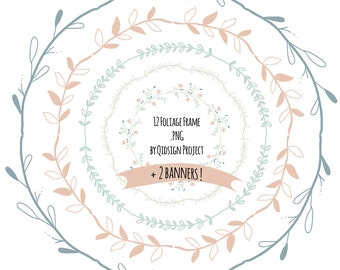 12 Hand drawn Foliage Frame Clipart  doodle round borders  digital frames clipart  commercial use instant download