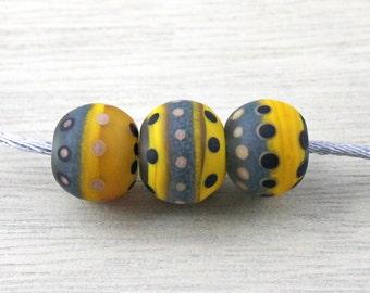 Set of 3 matt opaque and transparent grey, ocher, black, beige handmade lampwork beads